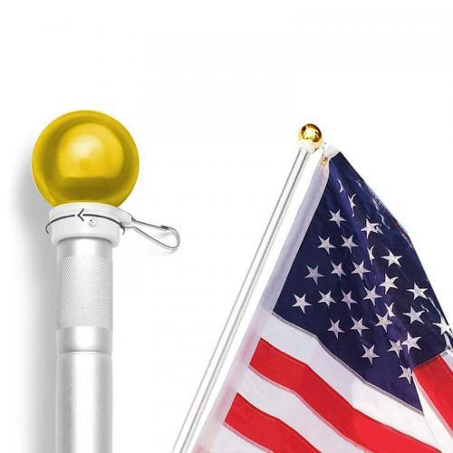 """Gold Anodized Aluminum Finish Anley Authentic 3/"""" Flagpole Ball Topper Ornament"""